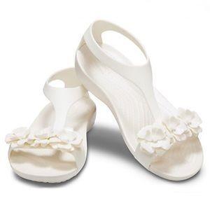 NWT CROCS Serena Embellish Sandals White Oyster